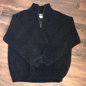 Orvis Sz L Black/grey fleece pullover EUC